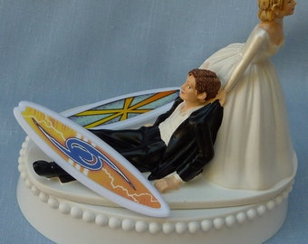 Wedding Cake Topper Surfing Surfboard Surfer Groom Themed w/ Bridal Garter Bride Drags Pulls Hobby Sports Fans Reception Centerpiece Funny