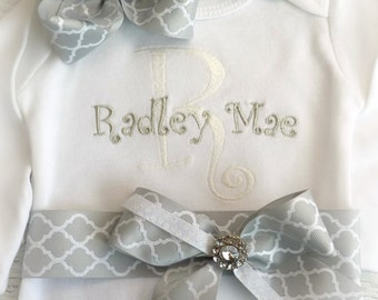 coming home outfit, Personalized Take Home Outfit, Newborn outfit, Hospital Take home outfit, baby name gown for girls, newborn onepiece