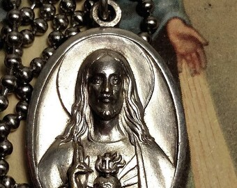 SALE TODAY Sacred Heart of Jesus Our Lady Virgin Mary Silver Religious Medal Pendant Necklace Upcycled Long Steel Chain