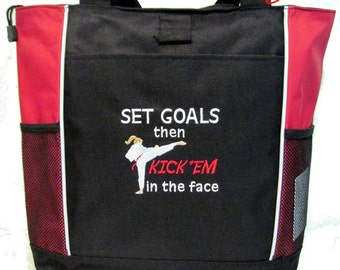 FREE SHIPPING - Karate Girl Tote bag - Set Goals Kick 'em in the face - New