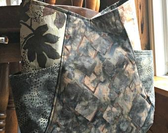 Shoulder bag earth tone batik fabrics with pockets