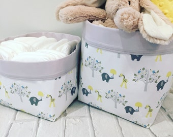 Happy Friends Pair of Storage Baskets -  Nappy Basket Nursery Decor Diaper Caddy Baby Shower Gift - Grey Yellow Elephants Giraffes