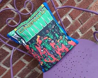 Green Lantern DC comic book 14x14 Pillow Cushion Cover Upcycled Tshirts Eco