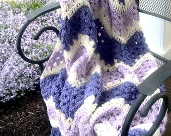 Hand Crocheted Decorative Afghan Throw Blanket Lacy Ripples in Purples and Cream