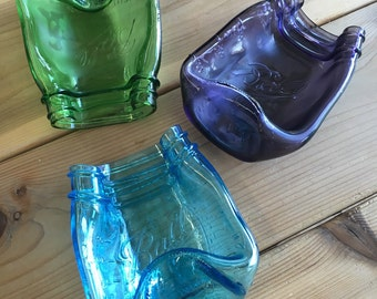 Melted / Slumped Purple Green Blue Mason Jar Spoon Rest / Dish