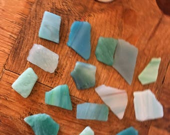 Sea glass beads / sea glas ceramics / craft supplies / pendant sea glass / sea glass jewellery / craft making glass / 15 pieces not drilled