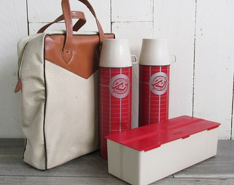 Mid Century Twin Thermos Picnic Set with Sandwich Box and Case - Value & Service Hardware Stores