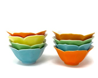 Eight Vintage Lotus Shaped Jewel Toned Custard, Dessert, Rice Bowls - Made in Japan - Mid-Century Modern Bowls - Vintage Dessert Bowl Set