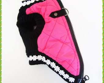 Dog coat harness Pink Dog Harness Coat with d-ring and zipper easy on.  Tiny yorkie chihuahua clothes tea cup puppy