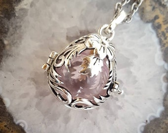 Floral Teardrop Locket w/Fillable Orb | Memory Locket | Urn Jewelry | Pink Glass Urn Pendant | Glass Urn Locket | Cremation Jewelry