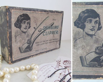 SALE!!!~Delightful 1920s-30s shingling clipper in original box~Flapper, Charleston~Rare & nostalgic display~Hair salon/Bathroom/Photo prop