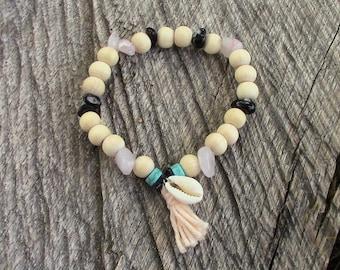 Bracelet elastic women - pastel pink tassel - cowrie - Rose Quartz - Obsidian - turquoise - wood - natural stones