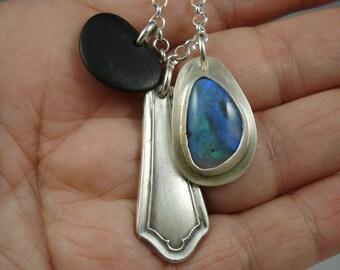 Opal found object necklace