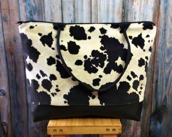 Large Travel Bag -Weekender Bag -Cow Print Bag- Weekender Bag Women -Wanderlust Gift- Weekender Bag Canvas