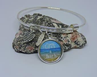 Charm Bracelet, Adjustable Bangle, Beach Charm, Bangle Bracelet, Silver Charm, Stackable, Dangle Charm Bracelet, Beach Jewelry