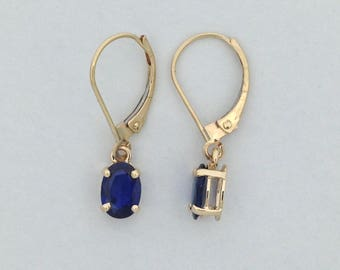 Natural Sapphire Dangle Earrings Solid 14kt Yellow Gold