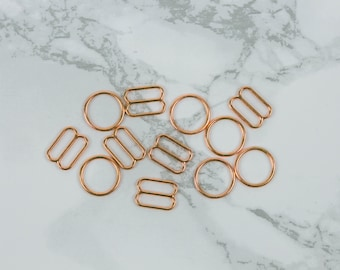 """3 Sets 3/8"""" Rose Gold Copper Metal Rings and Sliders Premium Jewelry Quality Bra Adjusters 10mm Bra Making Bramaking"""