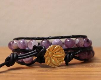 Amethyst Bracelet, Dogtooth Amethyst, Gemstone Bracelet,  Leather Double Wrap Bracelet, Boho Bracelet, Hippie Bracelet, February Birthstone