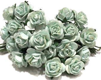 Aqua Blue Open Mulberry Paper Roses Or123