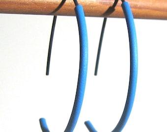 Titanium half hoops with blue or green tubing Hypoallergenic hoop earrings