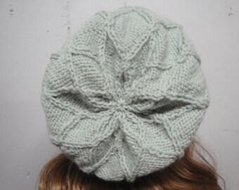 Women's Slouch Hat with Diamond Pattern, Sage Green, Slouchy Beanie, Textured Hat, Unusual, Hand Knit