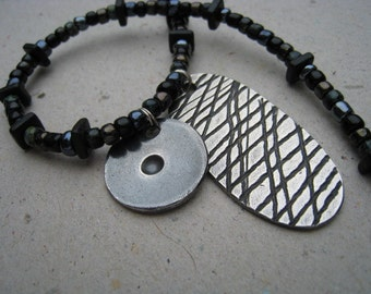 Oxidized Fine Silver Gaming Pieces on Black Beaded Necklace - Fine Silver Necklace - Archaeology