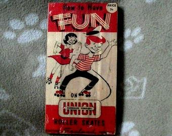 Rustic Antiqued Union Hardware Roller Skate Sign