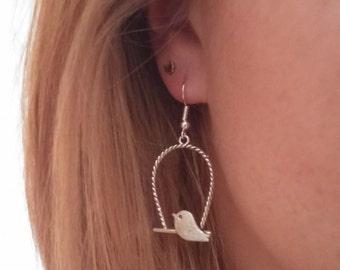 Vintage Silver Birdcage Earrings