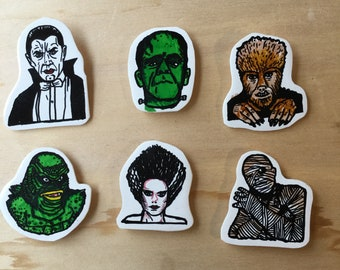 Classic Horror Movie Monsters Shrink Plastic Magnet Set (6) FREE SHIPPING