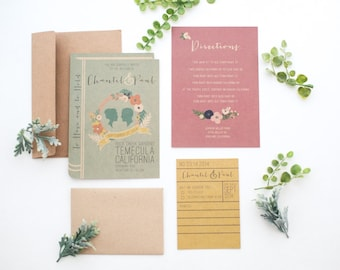Customized printable DIY- Library book invitation set