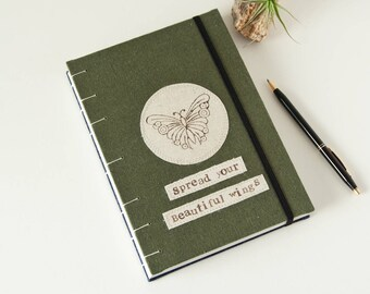 Motivational Gift - Butterfly Journal with Spread Your Wings words - Unlined Journal Diary