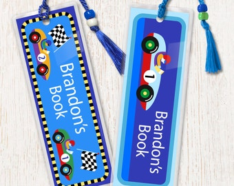 Kid's Personalized Race Car Bookmarks, Boy's Laminated Bookmarks, Bookmark Set of 2, Great Gift, Birthday Gift