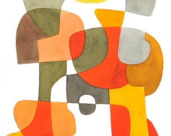 Happy - Abstract Art impression Mid Century moderne affiche Art Mid century mur art jaune rouge marron kaki, gris, noir 8 x 10