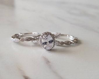 Engagement Ring Vintage Engagement Ring 1930s Ring Art Deco Ring Wedding Ring Set  White Gold Ring Diamond Ring 3 band Ring Oval Ring