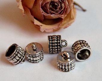 Beaded bells 5 X 11 X 12 mm silver color caps