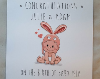 Personalised New Baby Congratulations Card (bunny)