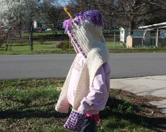 Crocheted adult/tenn unicorn hooded scarf with pockets.