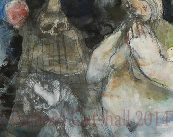 """Original contemporary raw art brut Expressionist Mixed Media Painting- """"Haunting Grace"""""""
