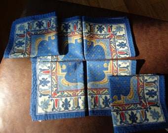 6 Vintage Napkins in Very Good Condition with great color palette and intricate design pattern, Made in Brazil with a strong, sturdy fabric