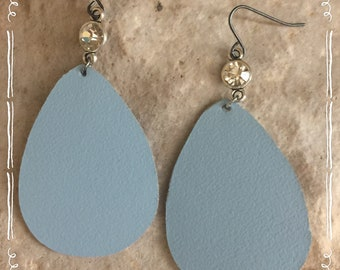 Leather earrings-genuine leather-blue leather-teardrop-leaf-teardrop earrings-leather earrings-rhinestone earrings