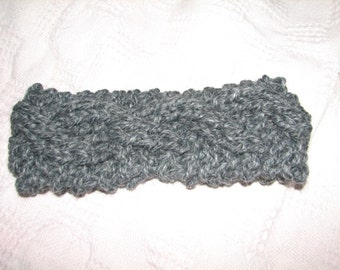 Grey Cable Knit Headband Ear Warmer
