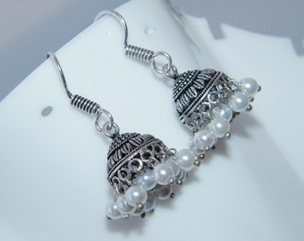 Pearl Beads Jhumki Earring, Nepali Boho Handmade Silver Plated Jhumka Earring, Indian jewelry , Bell earrings