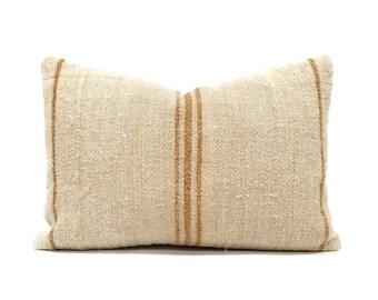 """Grainsack pillow cover, 14""""×20"""" vintage grainsack rust stripe pillow cover, farmhouse pillow, linen pillow"""