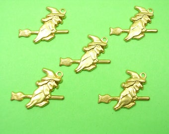 SET 5 CHARMS METALS Gold: witch 20mm