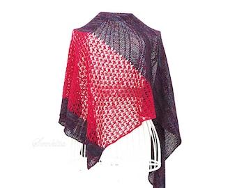Knitted shawl, oversized lace shawl, extra fine merino wool shawl, triangular shawl, , pink and purple shawl, gift for her, women accessory