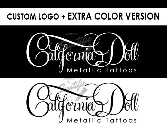 Custom logo plus FREE color variation, black and white logo design, white and black, tattoo logo design, premade logo, cursive lettering