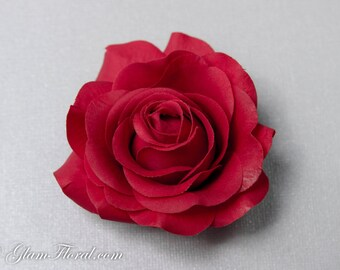 Red Rose Hair Clip, Real Touch Wedding Hair Fascinator Hair Head Piece. bridesmaids, prom Real Touch Flowers. Tea Rose Collection