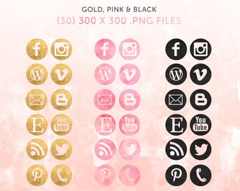 INSTANT DOWNLOAD Social Media Icons | Gold Foil |  Pink Watercolor  |  Black Watercolor