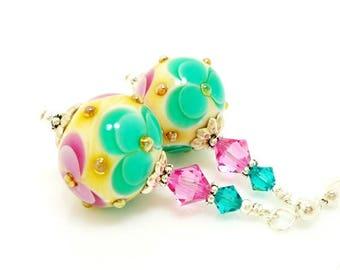 Pink Green Earrings, Floral Earrings, Lampwork Earrings, Glass Beads Earrings, Flower Earrings, Bright Earrings, Colorful Earrings