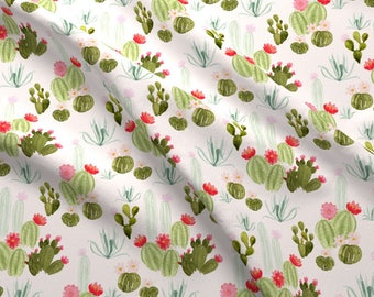 Southwestern Cactus Desert Fabric - Bloomin' Desert On Pink By Mintpeony - Pink Cacti Cotton Fabric By The Yard With Spoonflower